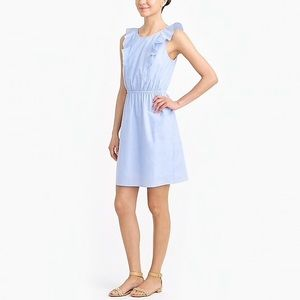 J. Crew | Blue Ruffle Shoulder Dress